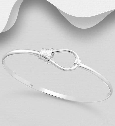 925 Sterling Silver Hand Crafted Solid Bangle That Opens